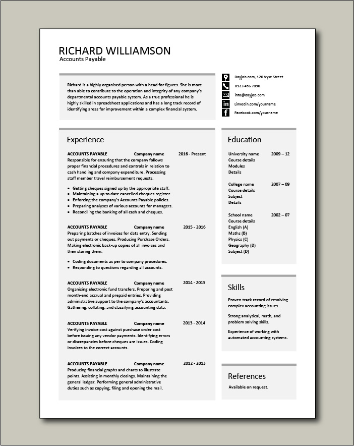 Free Accounts Payable resume template 3