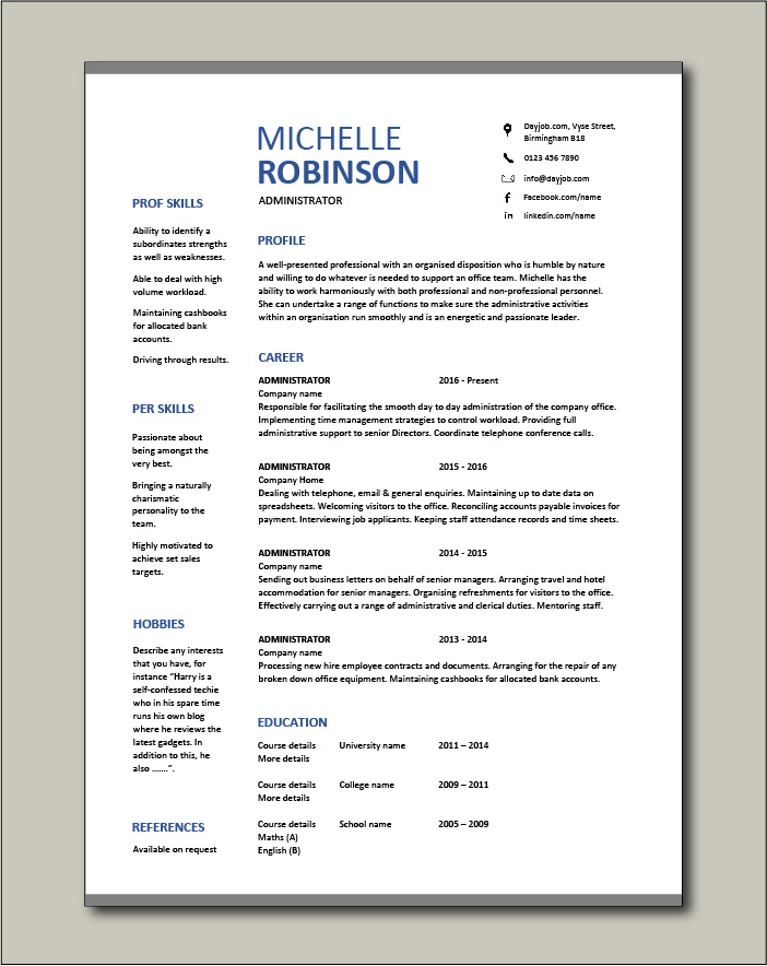 Free Administrator resume template 3