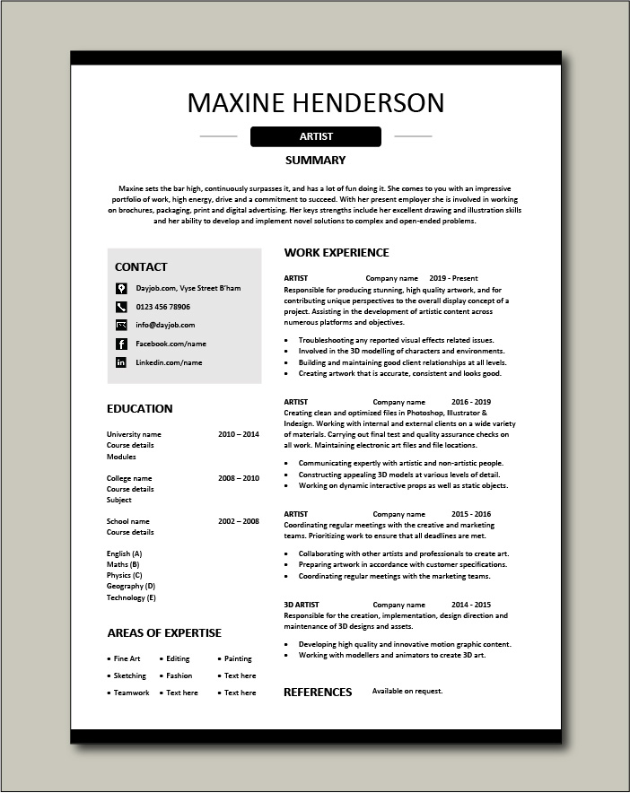 Artist Resume Artistic Drawing Example Templates Job