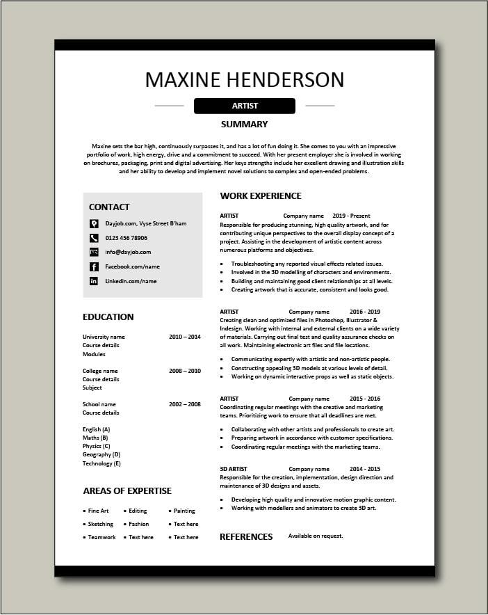 Free Artist resume template 4