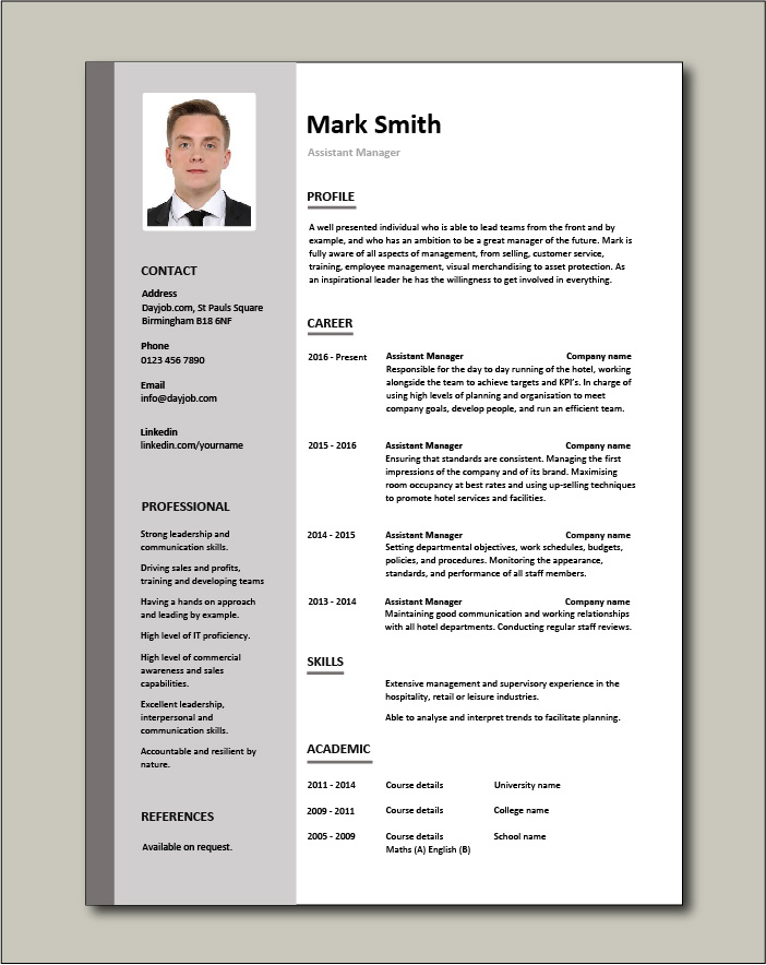 Free Assistant Manager resume template - 1 page