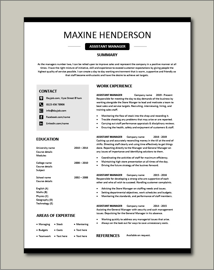 Free Assistant Manager resume template 4