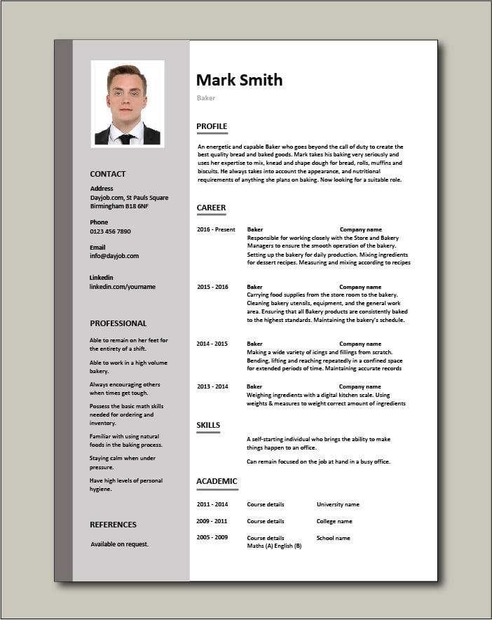Free Baker resume template 2