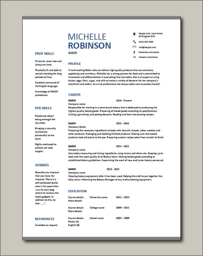 Free Baker resume template 3