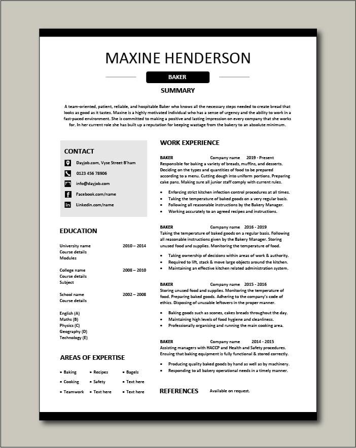Free Baker resume template 4