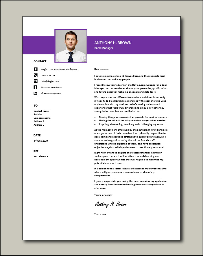 Free Bank Manager cover letter example 1
