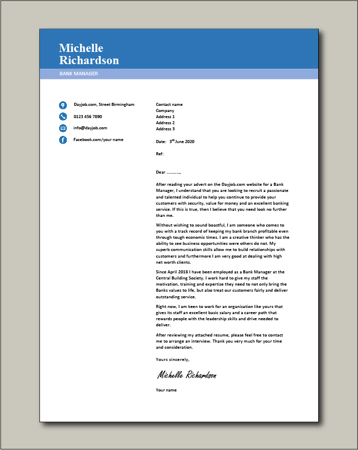 Free Bank Manager cover letter example 3