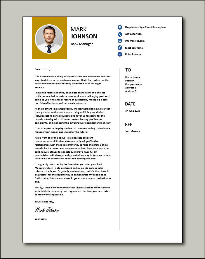 Free Bank Manager cover letter example 4