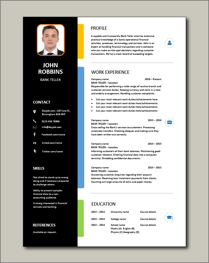 bank teller resume  example  sample  template  job