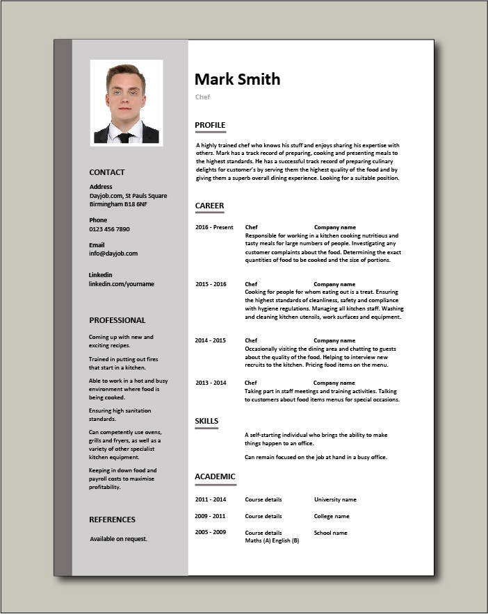 Free Chef resume template 2