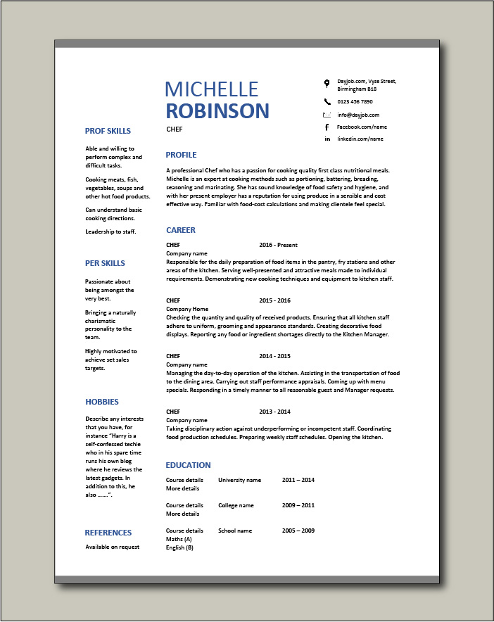 Free Chef resume template 3