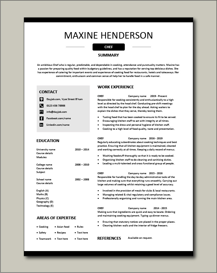 Free Chef resume template 4