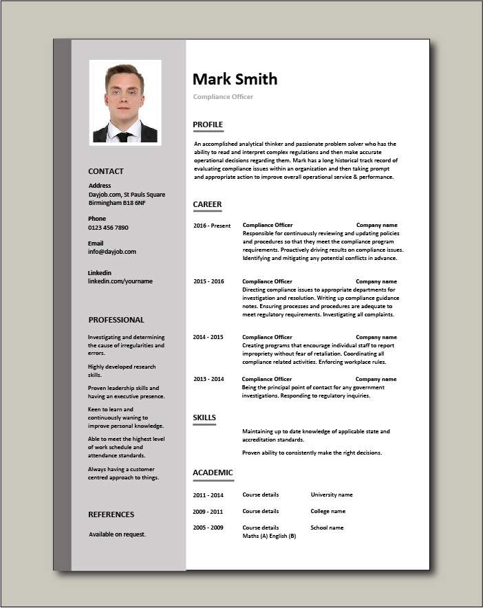 Free Compliance Officer resume template 1