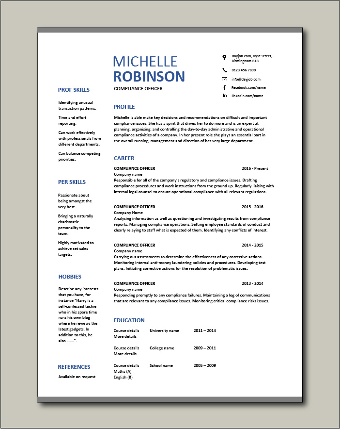 Free Compliance Officer resume template 2