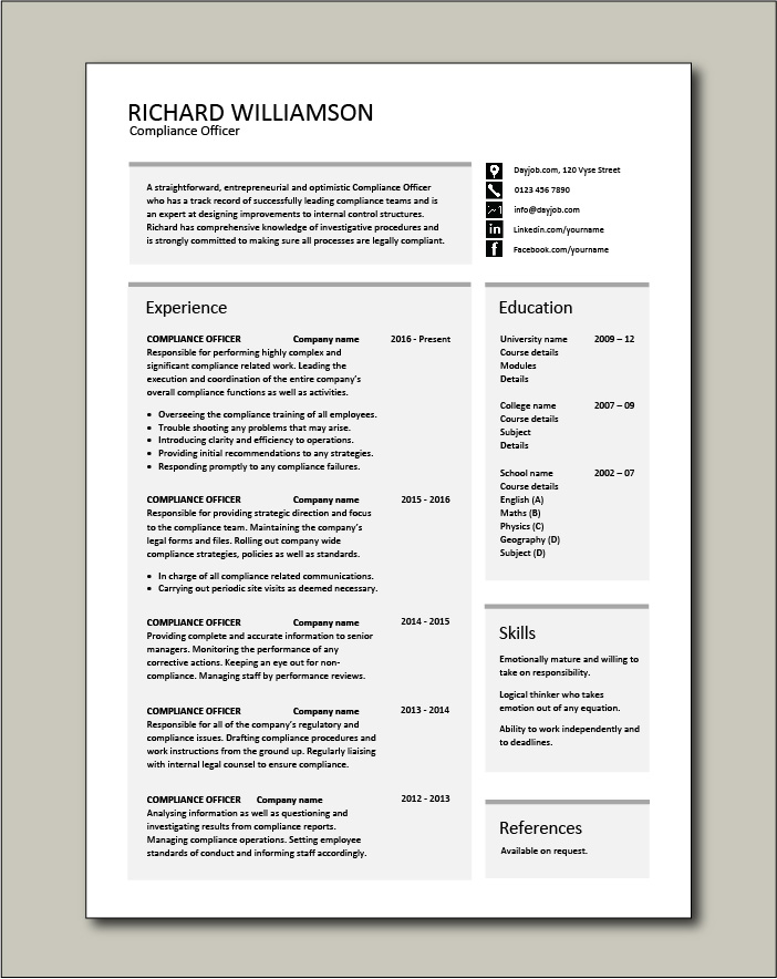 Free Compliance Officer resume template 3