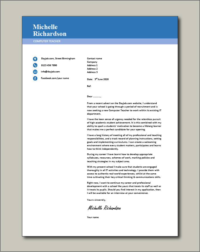 Free Computer Teacher Cover Letter Example 3