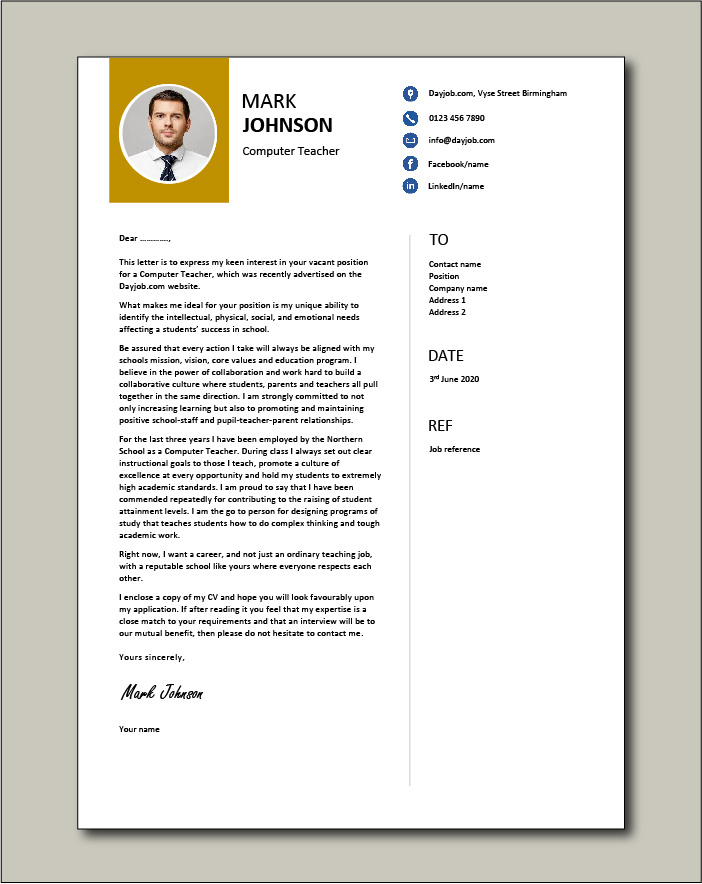 Cover Letter Example Teacher from www.dayjob.com