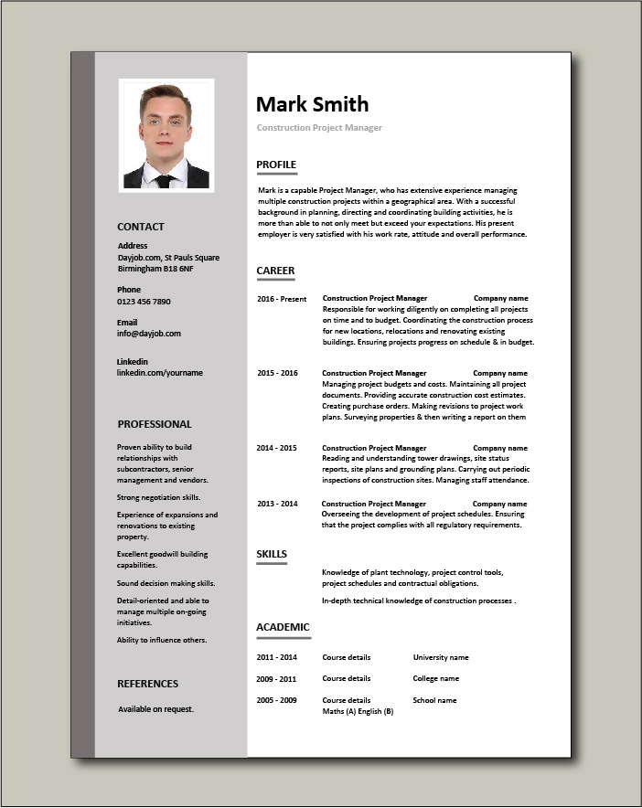 Construction Project Manager Resume Example Sample Building