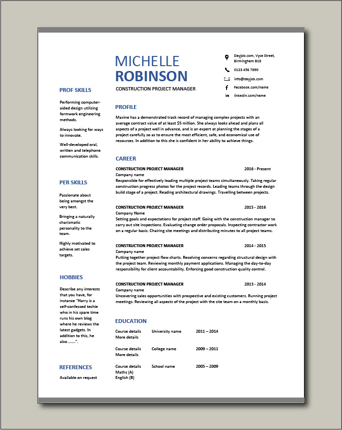 Free Construction Project Manager resume template 2