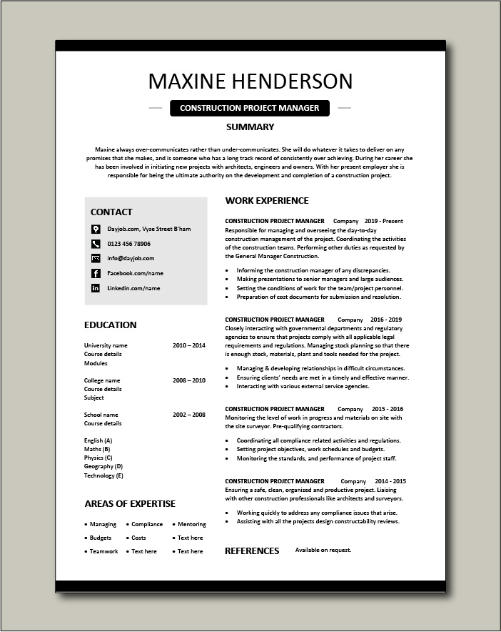 Free Construction Project Manager resume template 4