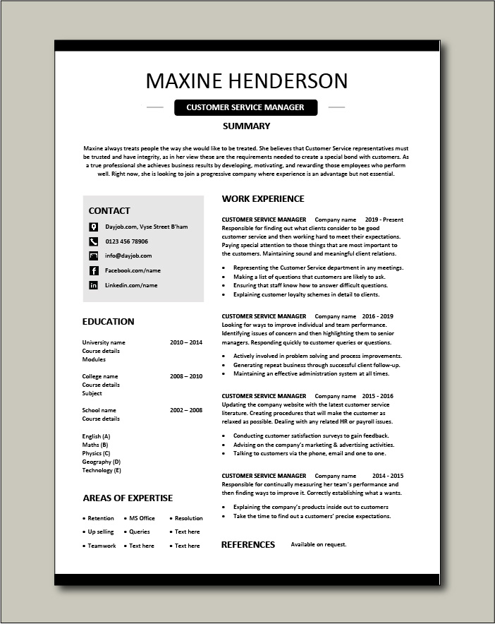 Customer Service Manager Resume Sample Template Client