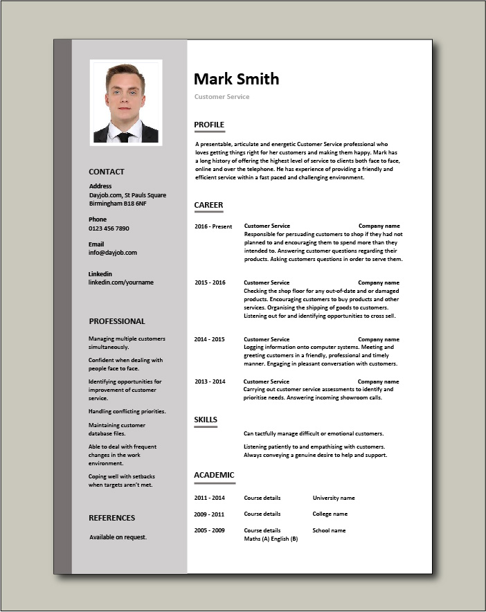 Free Customer Service resume template 1