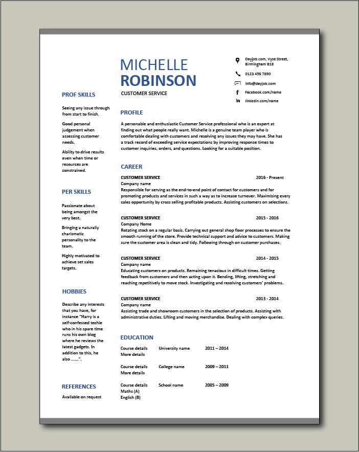 Free Customer Service resume template 2
