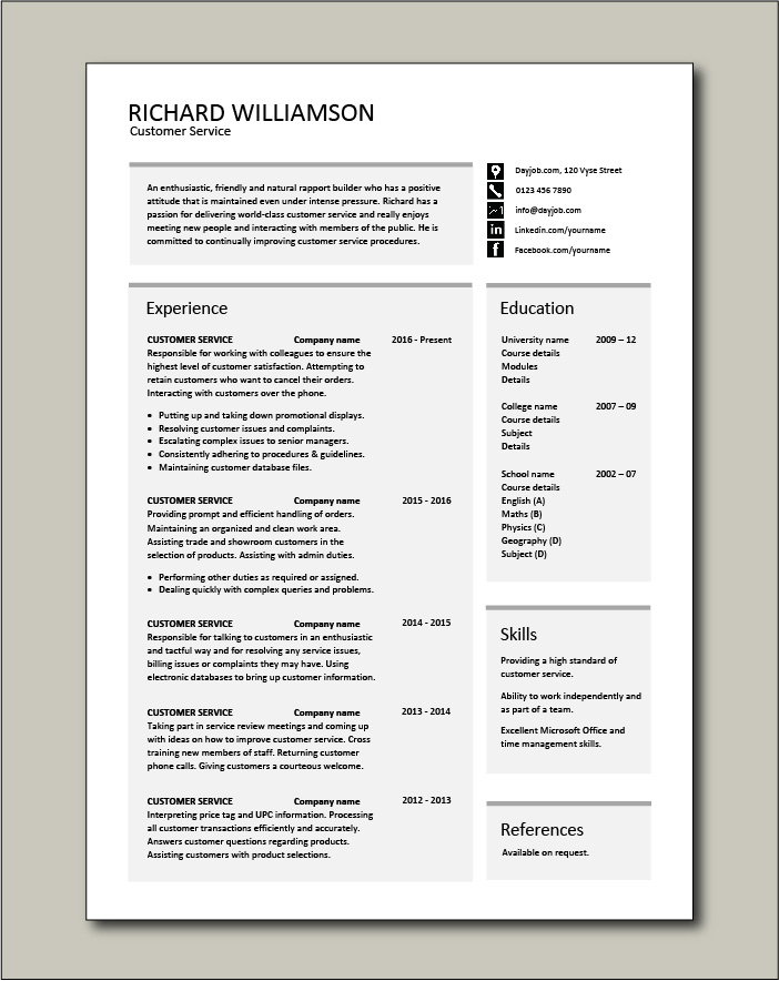 Free Customer Service resume template 3