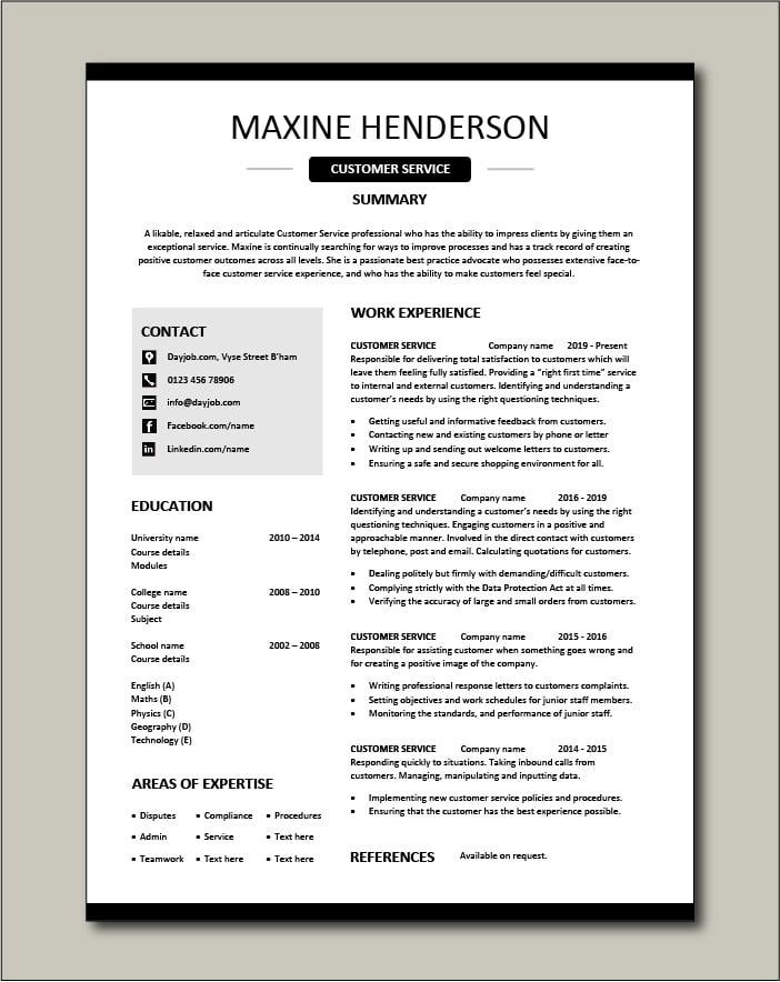 Free Customer Service resume template 4