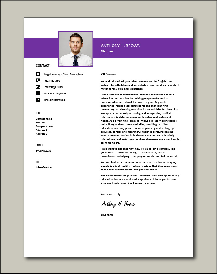 Free Dietitian cover letter example 1