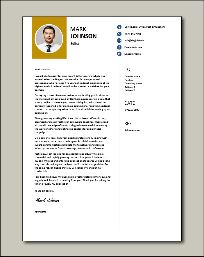 Editor Cover Letter Example Sample Editorial Newspaper Journalists Resume Work