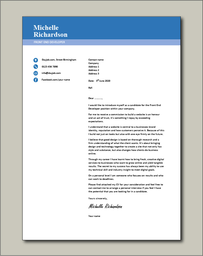 Free Front End Developer cover letter example 3