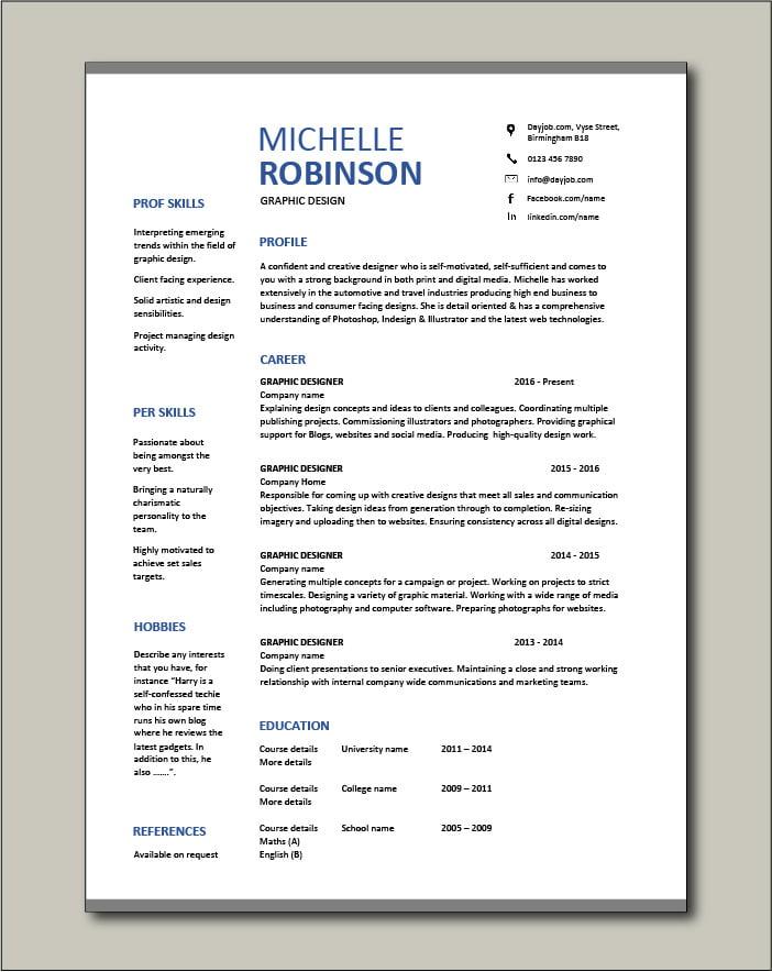 Free Graphic Design resume template 2