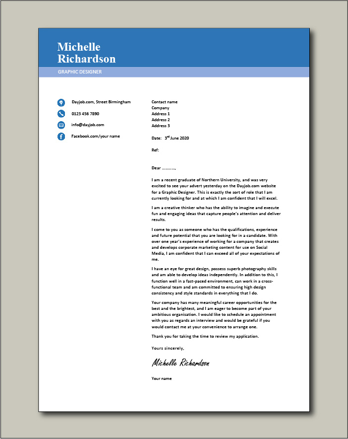Free Graphic Designer Cover Letter Example 3