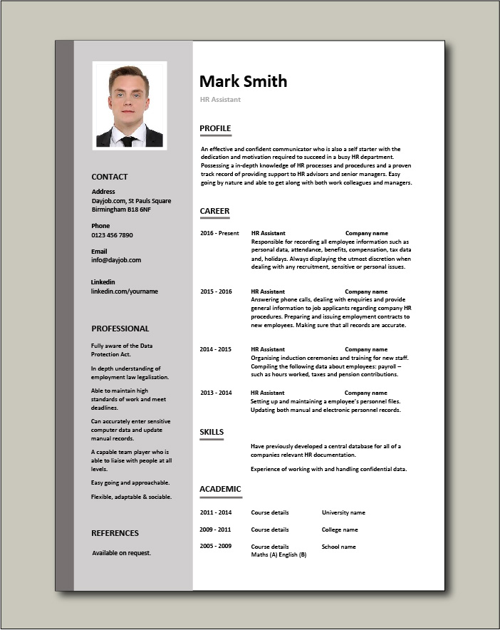Free HR Assistant resume template 2
