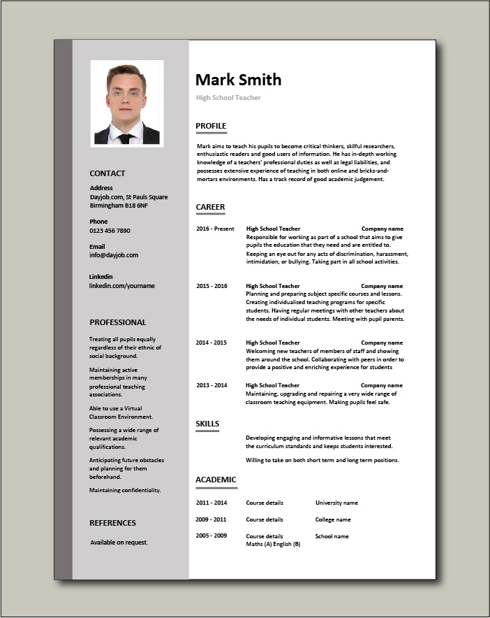 High School Teacher Resume Template Example Sample Teaching