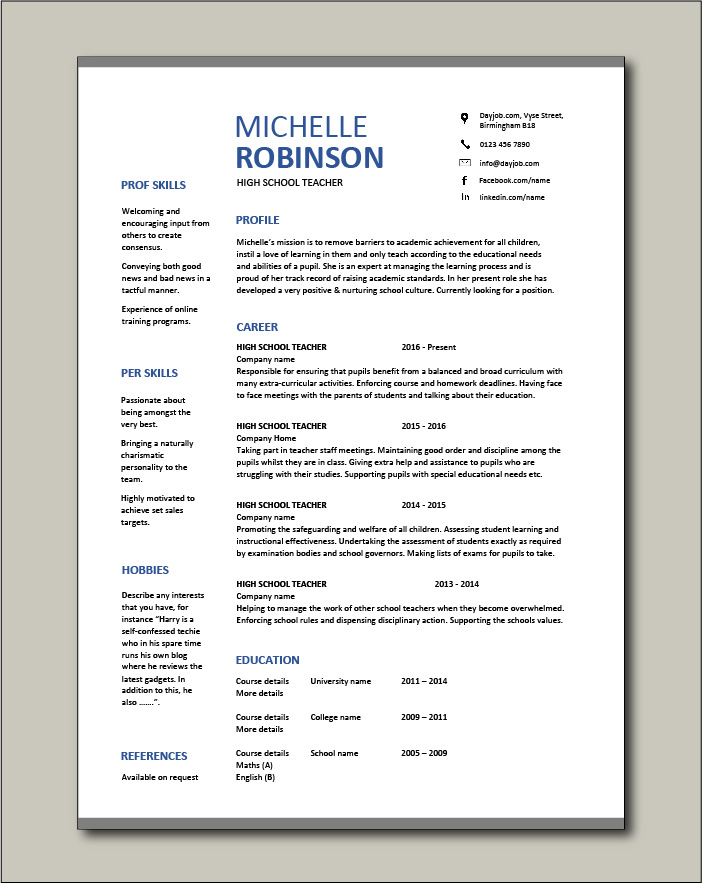high school teacher resume  template  example  sample