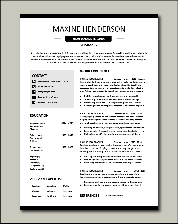 High School Teacher Resume Template Example Sample Teaching College Pupils Learning Jobs Cv