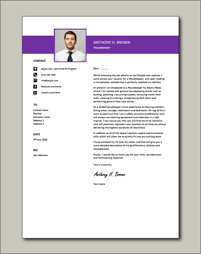 Free Housekeeper cover letter example 1