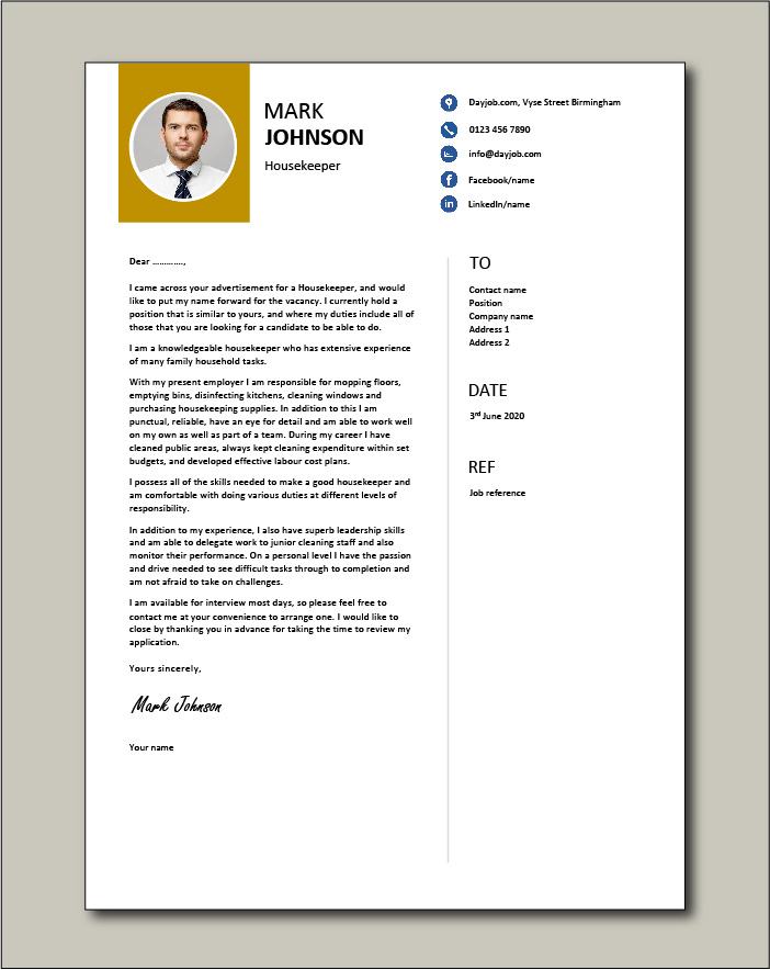 Free Housekeeper cover letter example 4
