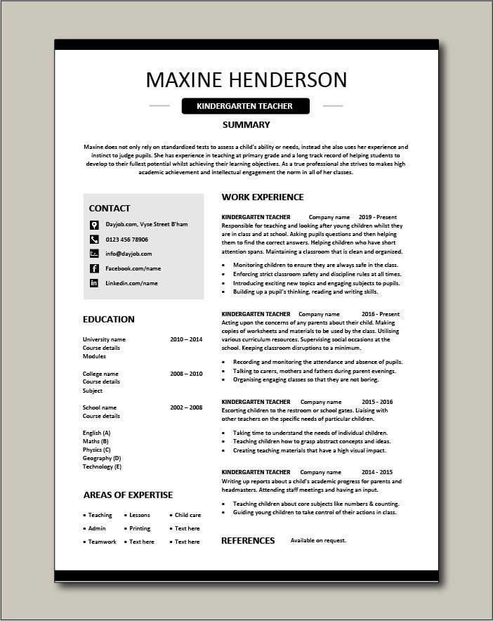 Free Kindergarten Teacher resume template 4