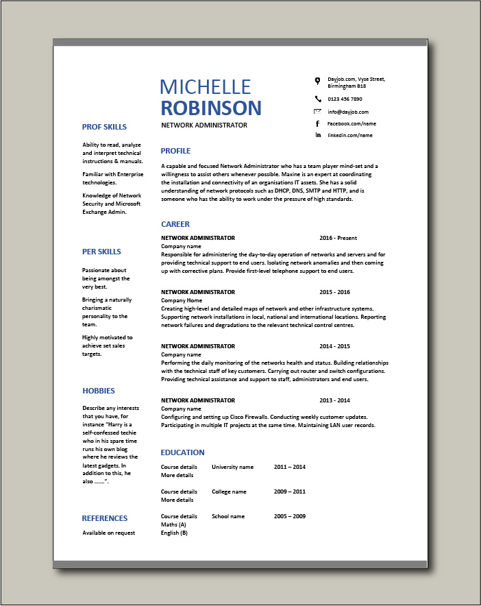Free Network Administrator resume template 2