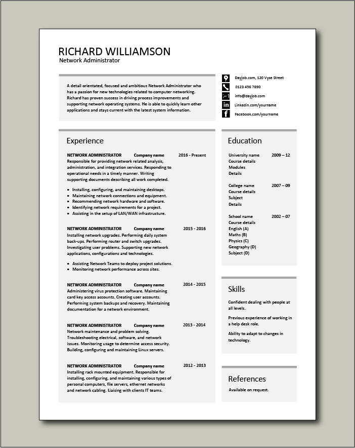 Free Network Administrator resume template 3