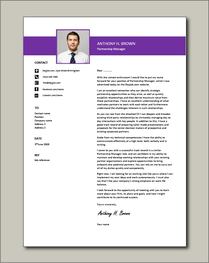 Partnership Manager Cover Letter Example Relationships Covering Job Application Vacancy