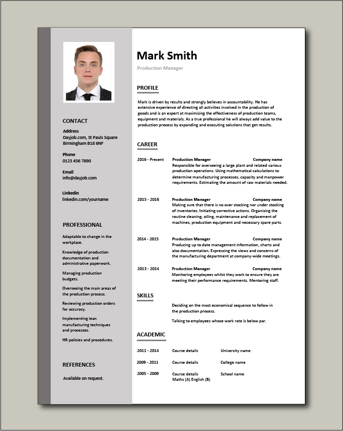 Free Production Manager resume template 2