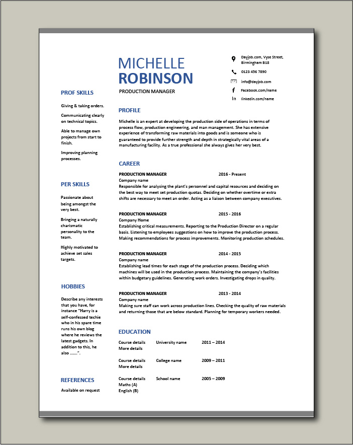 Free Production Manager resume template 3