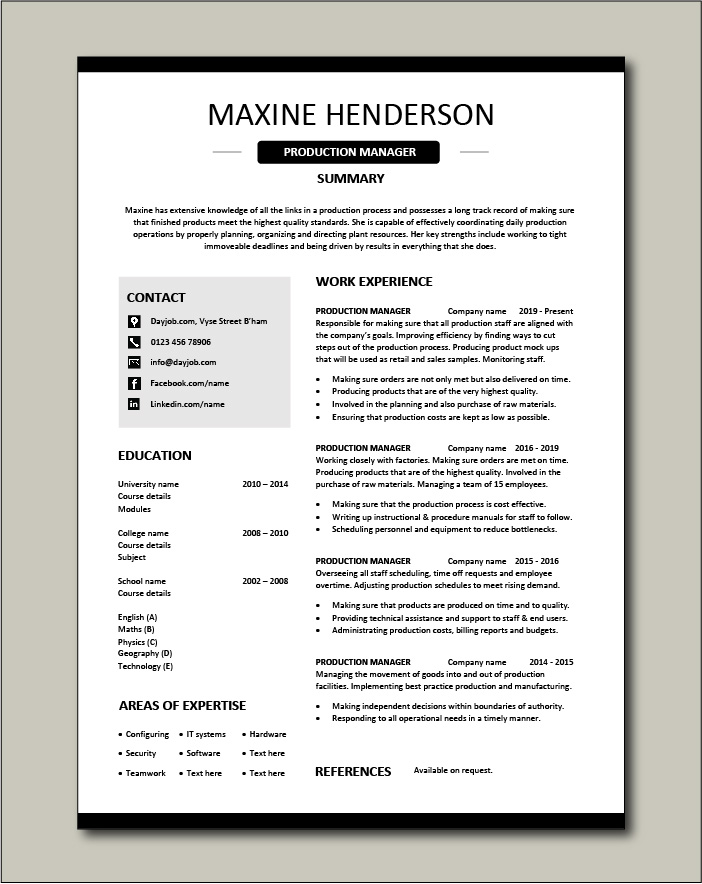 Free Production Manager resume template 4