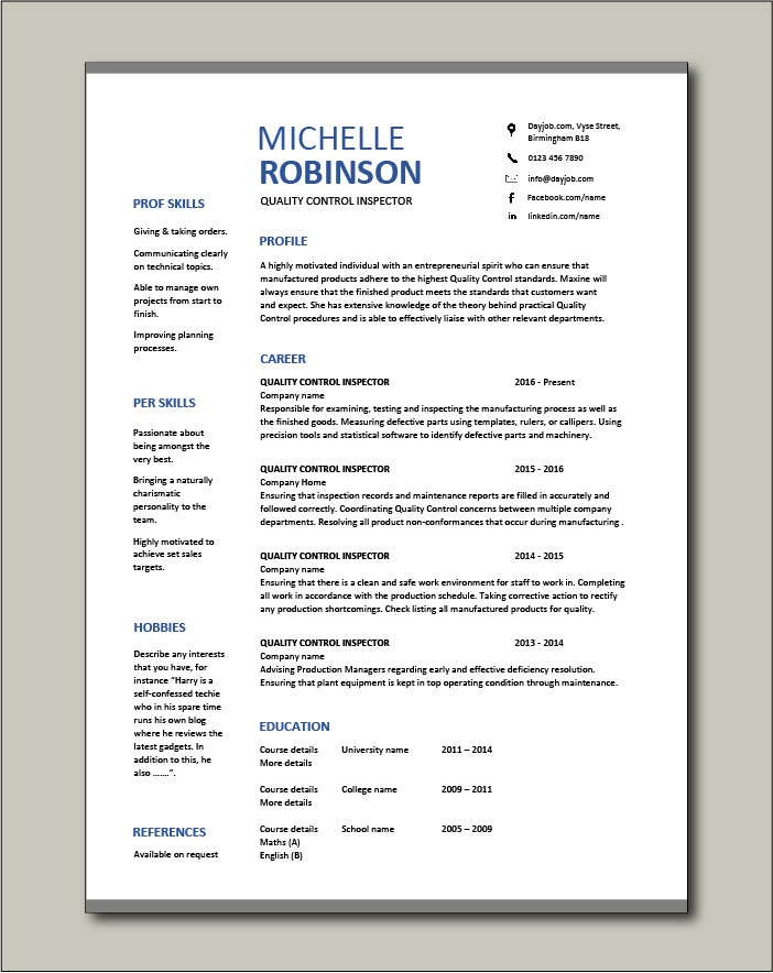 Free Quality Control Inspector resume template 3