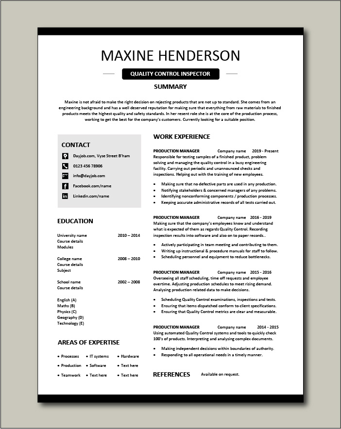 Free Quality Control Inspector resume template 4