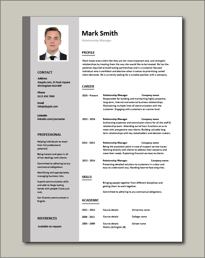 Free Relationship Manager resume template 2